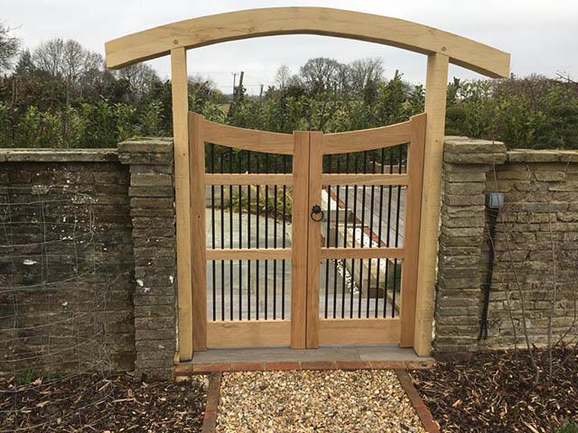 Bespoke Oak Gates into Japanese Garden - Newdigate