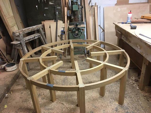 Bespoke garden seat being built in workshop
