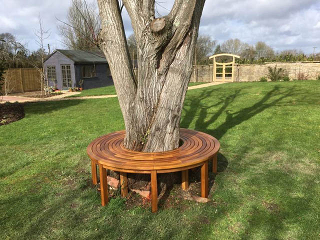 Bespoke garden seat installed in Newdigate Surrey