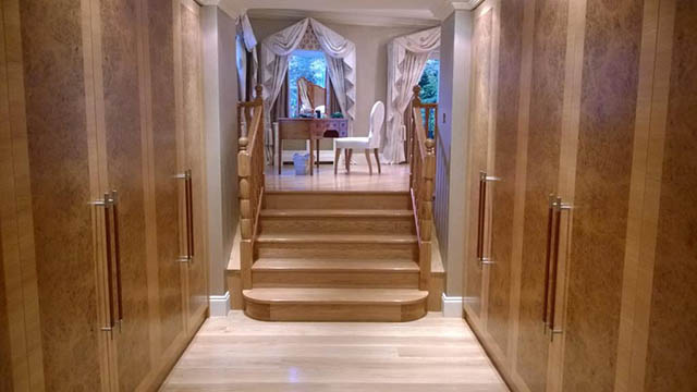 Bespoke Oak stairs from dressing area to master bedroom in Oxshot Surrey