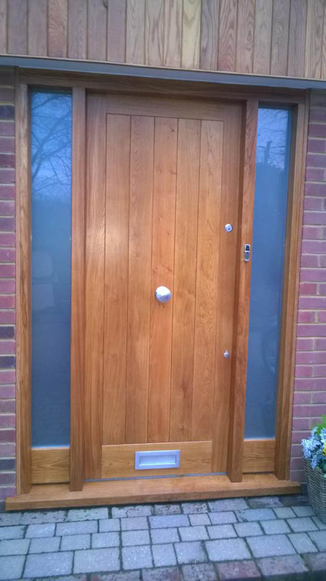 Oak front entrance door with matching sidelight in Newdigate Surrey
